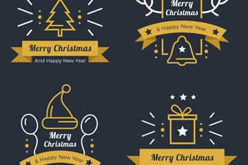 4款创意圣诞节丝带标签矢量素材