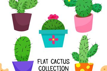 5款卡通仙人掌盆栽矢量素材