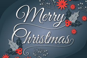 银色圣诞节快乐艺术字矢量素材