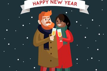 创意跨年夜庆祝的情侣矢量素材