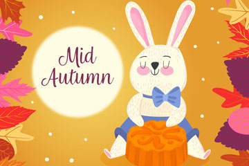可爱中秋节兔子和月饼矢量图