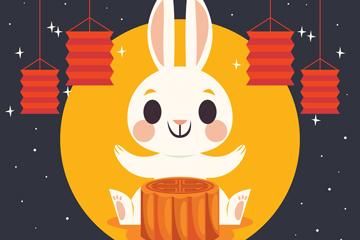 卡通中秋�白兔和月�矢量素材