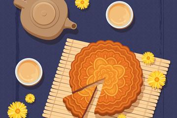 美味中秋节茶和切开的月饼矢量图