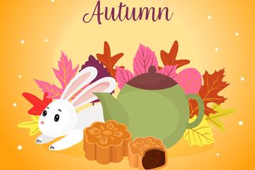 彩色中秋节落叶和兔子矢量素材