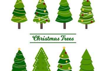 8款创意绿色圣诞树矢量素材
