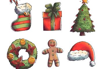 6款彩绘圣诞节元素矢量素材