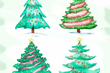 4款水彩绘圣诞树设计矢量图