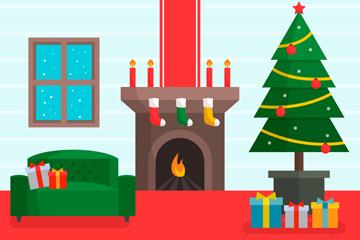 彩色圣诞节客厅设计矢量图