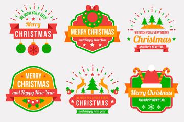 6款绿色圣诞节徽章矢量素材