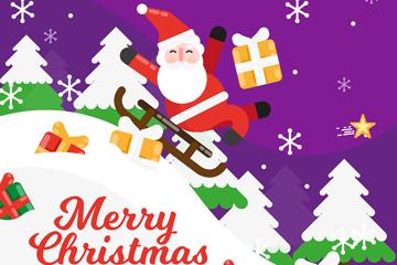 创意圣诞节坐雪橇的圣诞老人矢量图