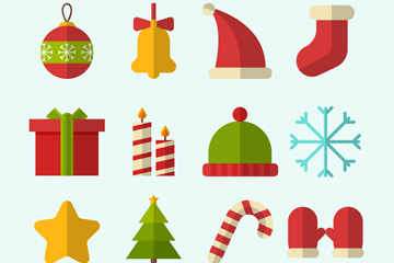 13款扁平化圣诞节图标矢量素材