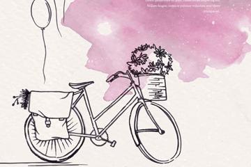 水彩绘单车和气球矢量素材