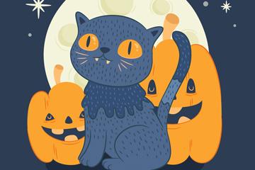 彩绘万圣夜猫咪和南瓜矢量素材