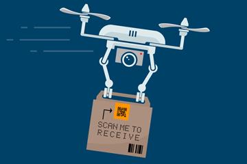 创意投递包裹的无人机矢量素材