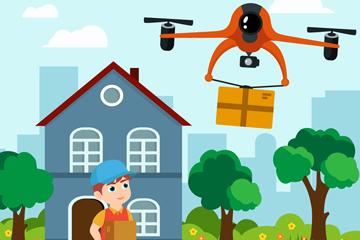 创意无人机运输快递插画矢量素材