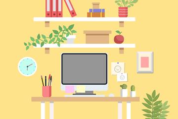 彩色私人办公桌设计矢量素材