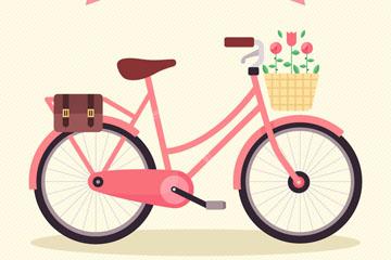 粉色自行车设计矢量素材