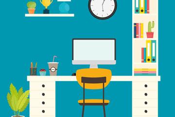 彩色整洁书桌设计矢量素材