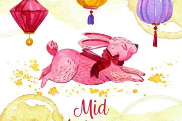 彩绘粉色中秋节兔子矢量素材