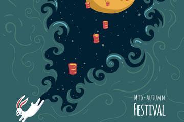 创意中秋节跑出月宫的白兔矢量图