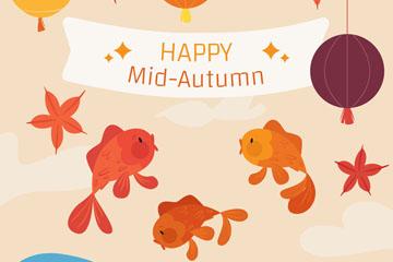 创意中秋节跳跃的金鱼矢量素材