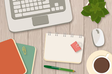 整洁办公桌面设计矢量素材