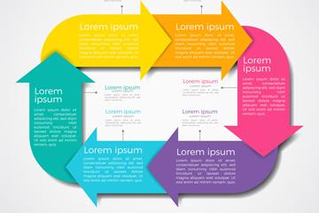 彩色循环箭头商务信息图矢量素材