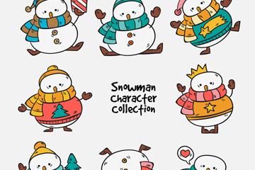 8款彩绘可爱雪人设计矢量素材
