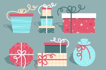 6组创意圣诞节礼物矢量素材