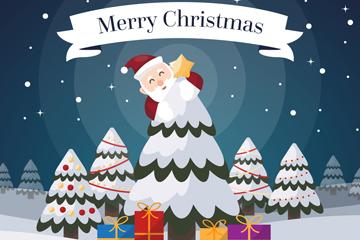 创意装饰松树的圣诞老人矢量素材