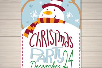 创意雪人圣诞派对传单矢量素材