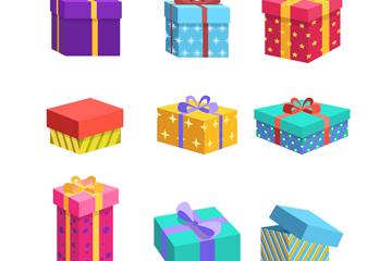 9款创意节日礼盒设计矢量图