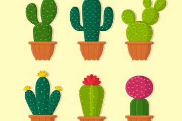 6款卡通仙人掌盆栽矢量图