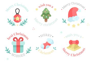 6款可爱圣诞节徽章矢量素材