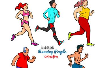5款彩绘跑步健身人物矢量素材