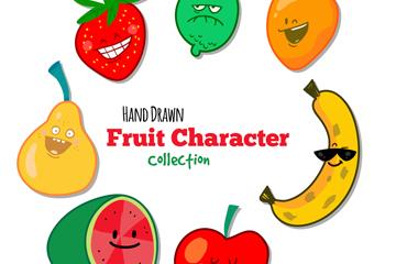 7款彩色表情水果矢量素材