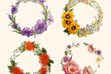 4款水彩绘花卉花环矢量素材