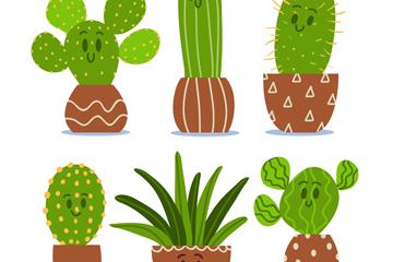 6款可爱仙人掌盆栽矢量素材