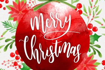 水彩绘圣诞节红色吊球矢量素材