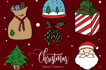12款手绘圣诞节元素矢量素材