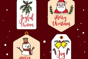 4款彩绘圣诞节吊牌矢量素材