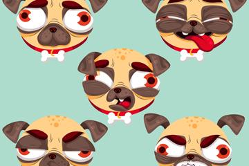 5款卡通巴哥犬头像设计矢量素材
