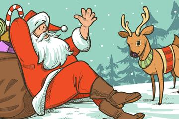 创意圣诞老人和驯鹿矢量素材