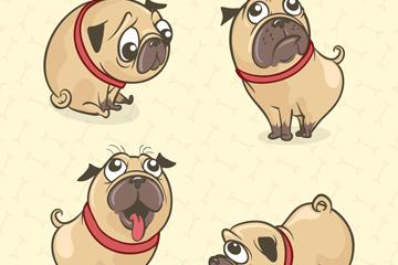 4款彩绘巴哥犬设计矢量素材