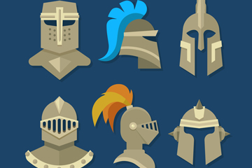 6款创意骑士头盔设计矢量素材