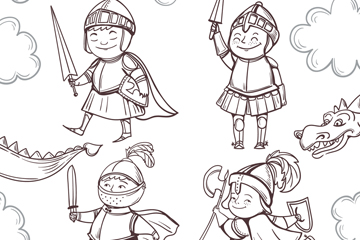 4款可爱手绘骑士设计矢量图