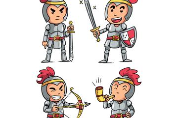 4款卡通骑士设计矢量素材