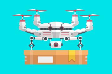 创意运输包裹的无人机矢量素材