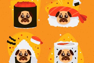 4款创意日本料理装扮巴哥犬矢量
