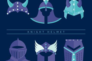 6款紫色骑士头盔矢量素材